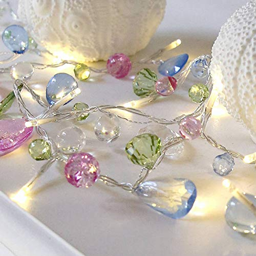 WSDF Crystal Beads Fairy Lights, Battery Powered,1.5m 10 LED Beaded Decorative String Lights Garland for Home Garden Wedding Holiday Party Decoration(Fruit Color)