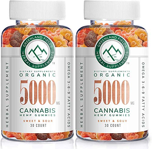 (2-Pack) Organic Hemp Chewy Bears - 5000MG - Active Joint & Muscle Relief, Better Sleep, Sweet & Sour, Infused with Colorado Grown Hemp, Rich in Omega 3-6-9 & Vitamin E, Non-GMO, Vegan.
