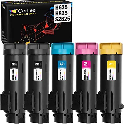 Cartlee 5 Set Compatible High Yield Laser Toner Cartridges Replacement for Dell H625cdw H825cdw S2825cdn H625 H825 s2825 Smart Color Multifunction Printers Ink (2 Black, 1 Cyan, 1 Magenta, 1 Yellow)