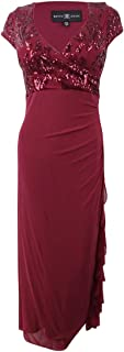 Womens Petites Sequined Ruffled Evening Dress Red 8P