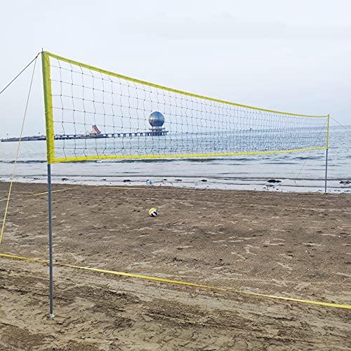 Juego de red de voleibol para exteriores, red de voleibol para exteriores portátil para patio trasero con sistema de cabrestante antideslizante, postes de aluminio de altura ajustable, voleibol suave