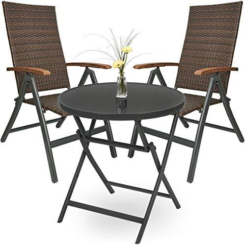 Brubaker Garten Sitzgruppe Modena - 1 Glastisch Klapptisch rund 70 cm Ø mit 2 Polyrattan Stühlen - Wetterfest - Braun/Anthrazit