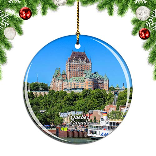 Weekino Canada Old Quebec Christmas Xmas Tree Ornament Decoration Hanging Pendant Decor City Travel Souvenir Collection Double Sided Porcelain 2.85 Inch