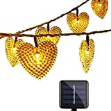 Cadena de Luces Solar,SUAVER Luz Solar Guirnaldas luminosas 20ft 30LED corazón Guirnalda de Luces 8 Modos de Luces de Navidad Impermeable para Jardín Boda Fiesta de Navidad(Blanco cálido)