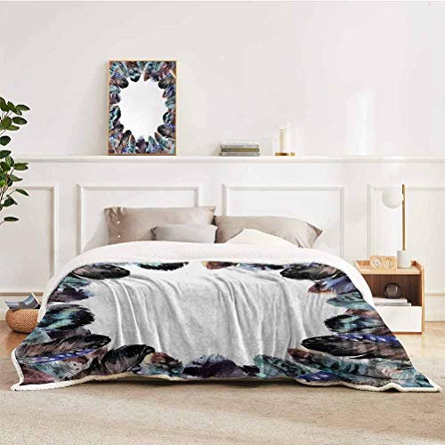"YUAZHOQI Boho Throw Blanket for Couch Bed Boho Circle Round Frame with Shabby Ornate Feathers Retro Gypsy Artistic Design Throw for Girlfriend Best Friend 60"" x 80"" Mauve Black Blue"