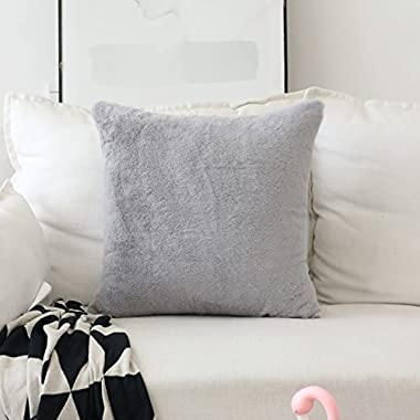 HOME BRILLIANT Plush Lambskin Faux Fur/Suede European Throw Pillow Sham Super Soft Large Cushion Cover Sofa, 1 Pc, Pillow Not Included, 26 inches, Grey