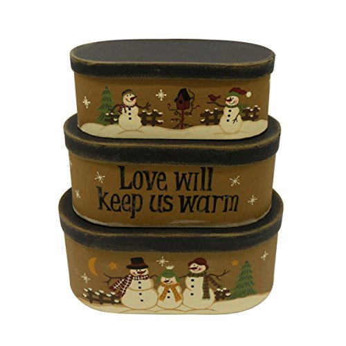 CVHOMEDECO. Lot de 3 boîtes gigognes ovales en carton vintage avec inscription « Love Will Keep Us Warm » - 24 x 14 x 10 cm