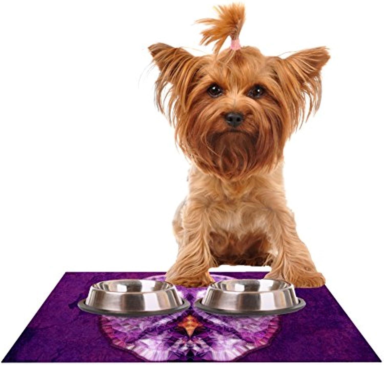 Kess InHouse Ancello Hoot   Owl Purple Feeding Mat for Pet Bowls, 24 by 15