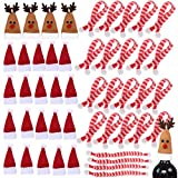 OBANGONG 24 Sets Mini Santa Hat Bottles Cover Christmas Reindeer Hats Xmas Silverware Holder with Mini Christmas Scarf for Wine Bottle