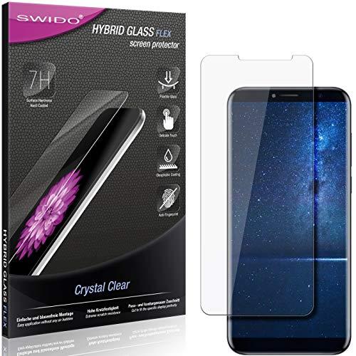 SWIDO Panzerglas Schutzfolie kompatibel mit Cubot X18 (2017) Bildschirmschutz-Folie & Glas = biegsames HYBRIDGLAS, splitterfrei, Anti-Fingerprint KLAR - HD-Clear