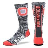 For Bare Feet NCAA Mens Team Vortex RMC Crew Socks-Medium & Large Sizes-Ohio State Buckeyes-Medium (5-10)