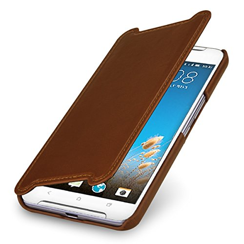 StilGut Book Type Hülle, Hülle Leder-Tasche kompatibel mit HTC One X9, Cognac