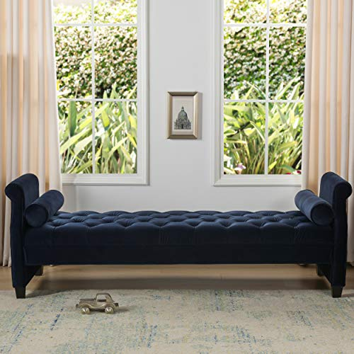 Jennifer Taylor Home Eliza Sofa Bed with with Bolster Pillows, Dark Navy Blue