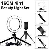 LQUIDE 24 LED 480LM 1.8 M Maquillaje Selfie Ring Lámpara Iluminación fotográfica con trípode Soporte para teléfono USB Plug Photo Studio (Color: G256118A 10 Pulgadas)