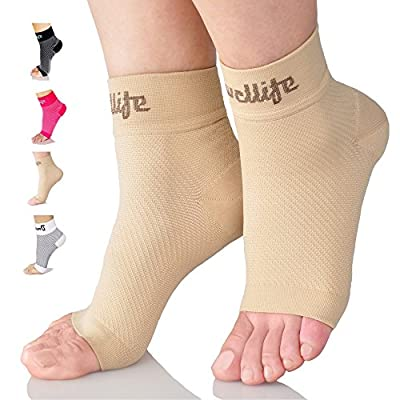 Dowellife 2 Pairs Plantar Fasciitis Socks, Ankle Brace Compression Support Sleeves & Arch Support, Foot Compression Sleeves, Ease Swelling, Achilles Tendonitis, Heel Spur for Men Women (Nude 2 Pairs, Medium)