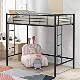 Merax Twin Heavy Duty Metal Loft Bed with Desk, Shelf Kids, Teens and Adults, Black with Two-Side Ladders