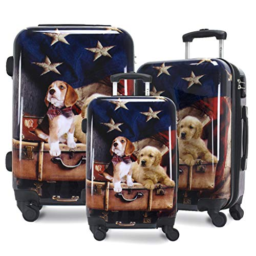 Chariot Printed Expandable Hardside Spinner Luggage Set, Freedom Pups, 3-Piece (20/24/28)