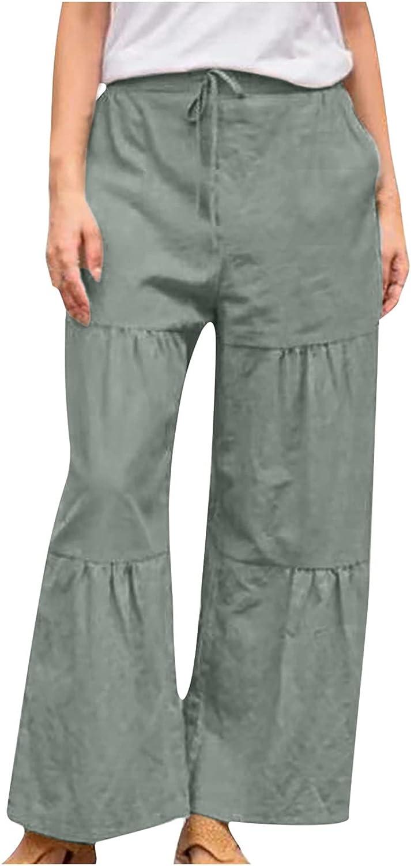 asjyhkr Women's Wide Leg Pants with Pocket Cotton Linen Elastic