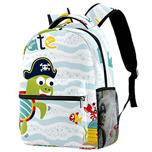 Zaino Carino Cartoon Ocean Turtle Pirata Scuola Zaino Viaggio Casual Daypack per Donne Teen Ragazze Ragazzi