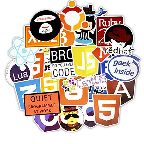 GoodFaith Programmiersprache-Aufkleber Coole Laptop-Aufkleber für Programmierer Hackers Software-Entwickler Unique Stickers 50Pcs