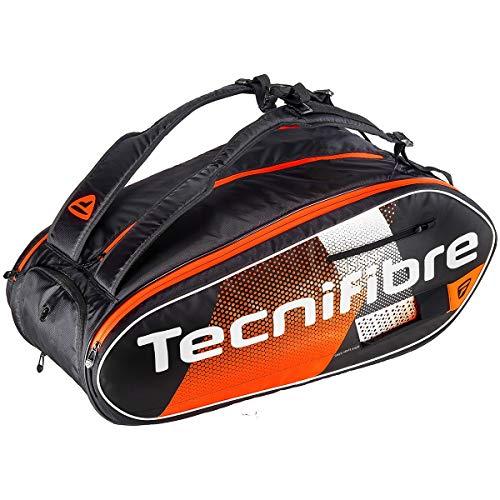 Tecnifibre AIR Endurance 12R Sac de Tennis Adulte Unisexe, Noir/Orange, pour 12 Raquettes