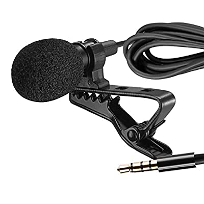 Neewer® Lapel Microphone Clip-on Omnidirectional Condenser Mic for Apple iPhone, iPad, iPod Touch, Samsung Android and Windows Smartphones Film Interviews Vocal Video Recording, Black