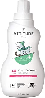 ATTITUDE Natural Baby Fabric Softener, Hypoallergenic, Free of Dye and Enzyme, Fragrance-Free, 33.8 Fluid Ounce, 40 Loads ...