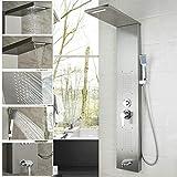 Baño Columna de ducha de latón macizo Mango montado en la pared Ducha de mano Tina Sistema de masaje Caño Panel de ducha