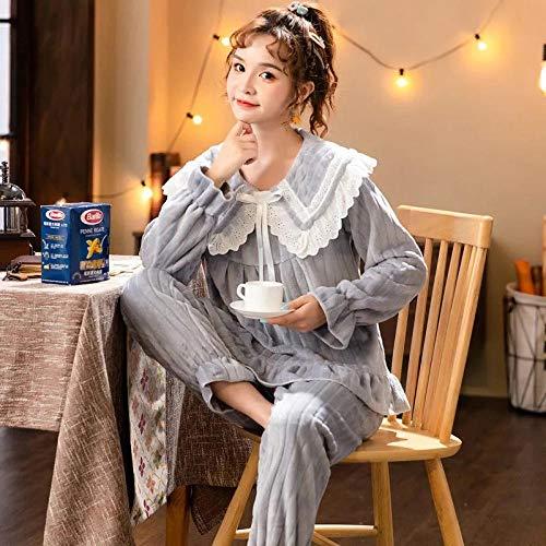 Empty Warme Winter Pyjama Spitze Rundhalsausschnitt Lose für Frau Weiche Baumwolle Nachtwäsche Loungewear Nachtwäsche-2XL_72.5-75KG