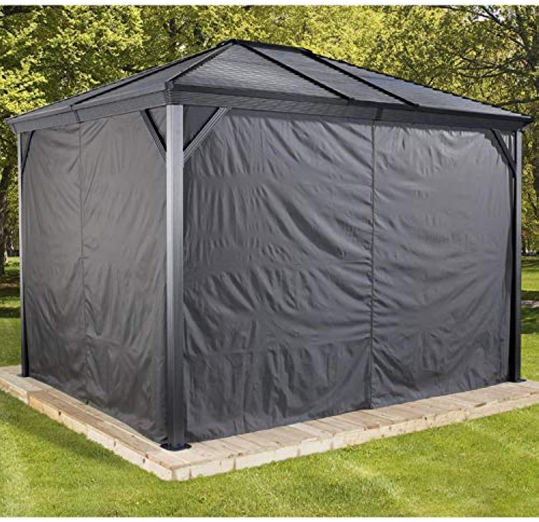 Sojag Aluminium Pavillon Ventura 10x10 Vorhnge Seitenteile Dunkelgrau passend für Gartenlaube Ventura 10x10