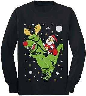T-Rex Santa Ride Funny Ugly Christmas Sweater Toddler/Kids Long Sleeve T-Shirt