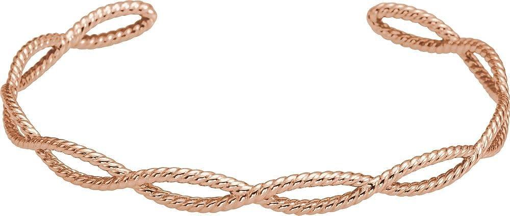 Jewels By Lux 14K Rose Gold Rope Cuff Bracelet