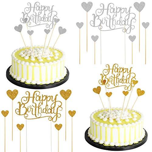 BESTZY Cake Torte Topper Happy Birthday Glitter Geburtstag Kuchen Topper Tortenstecker Glitzer Cupcake Topper Geburtstagstorte Dekoration für Geburtstagsfeier Party Dekoration (42 Stück)