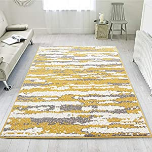 Ochre Yellow Modern Ombre Striped Gray Rug Living Room Area Bedroom Floor Rugs 5'3″ x 7'5″