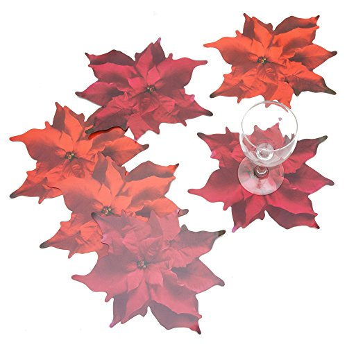 ROSEMARIE SCHULZ® 12 Blumen Glasuntersetzer Motiv Weihnachtsstern Rot - Bar, Kaffee, Tee, Bier und Wein Glas Untersetzer, 21x19cm