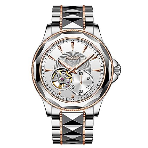 Aesop esqueleto Japón mecánico automático hombres zafiro cristal reloj de pulsera auto enrollado negocio clásico vestido acero tungsteno impermeable luminoso reloj, 9071g Rose White, M, 42mm,