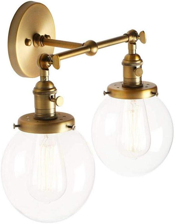 Retro Licht Moderne Doppelwandleuchten Loft Cafe Bar Wandleuchte Lampe Lampen Leuchten Mit Globus Klarglas Schatten (Antike)