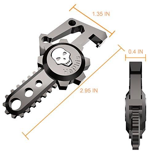 Hephis Chainsaw Skull Car Keychain with Dual Rings for Men,Women,Bottle Opener(Gun Black)