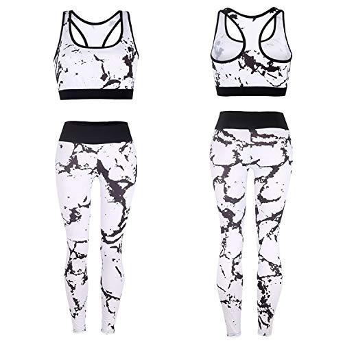 BEIFON 2er-Set Damen Yoga Kleidung Anzug Marmorstreifen Druck Trainingsanzug Sportwear Gym Fitness Kleidung Set Sport BH+ Leggings Fitness Set Laufen Jogging Änzuge