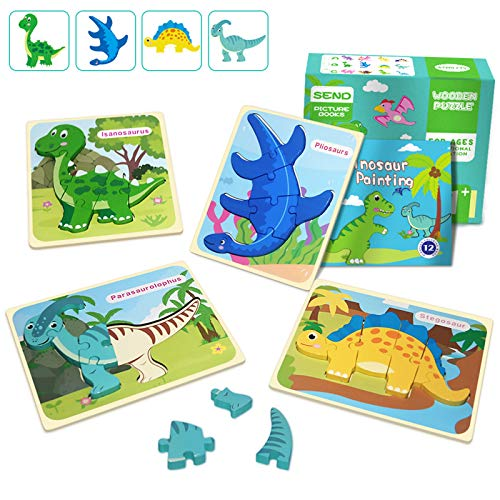 IMMEK Dinosaurs Wooden Chunky Puzzles Montessori Toddler Game Set for Kids Age 1 2 3 4 5 Year Old Boys and Girls Gifts 3D Animal Wood Peg Jigsaw Toys 4Pcs with 12 Page Hand Painted Book, Multicoloured
