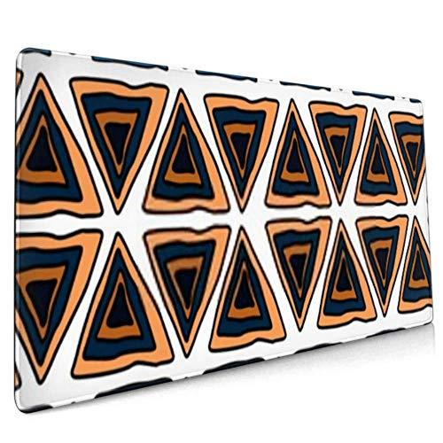 Langes Mauspad (90 x 40 cm), mehrfarbige geometrische Figuren, Vektor-Illustration, Dreieck, Schreibtischunterlage, Tastaturmatte, rutschfeste Unterseite, wasserabweisend, für Wo