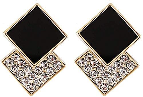 Pendientes Temperamento Rhinestone Negro Diamante Hembra Pelo Corto Personalidad Versátil Moda Simple