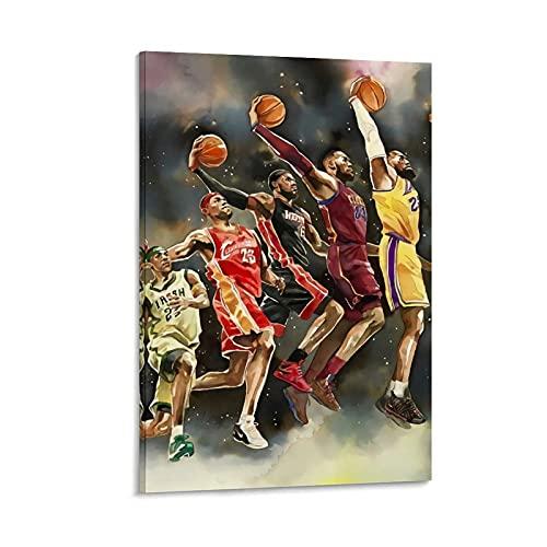 Ghychk Póster de baloncesto Superstar King LeBron-James Wall Art Pintura al óleo, decoración moderna de la pared del hogar para la decoración del hogar, bar cafetería 60 x 90 cm