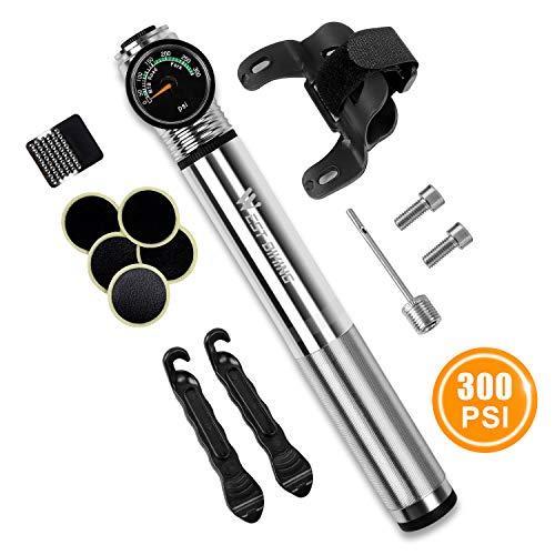 WESTGIRL Mini Fahrradpumpe mit Manometer - 300 PSI - Für Presta & Schrader - Tragbare Fahrradrahmenpumpe mit leimlosem Pannenset für Rennrad, Mountainbike und BMX, Montagesatz und Ballnadel inklusive