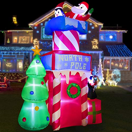 HOOJO 10 FT Santa Clause with Peguins on Christmas Castle with Christmas Tree Inflatable, Outdoor Decoration with Build in LEDs, Blow up Indoor, Yard, Garden Lawn Decoration