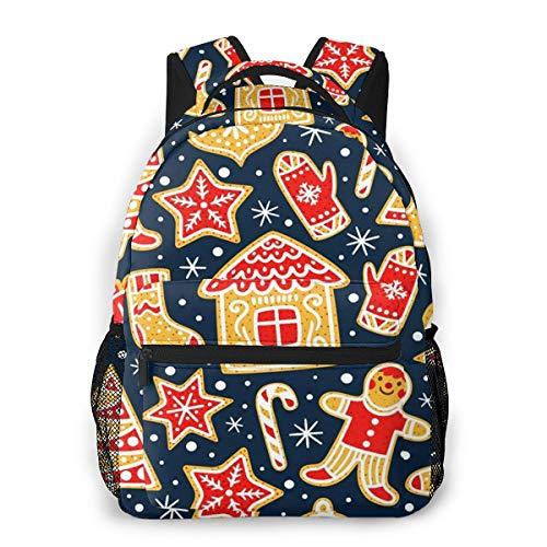 Laptop Rucksack Daypack Schulrucksack Backpack Weihnachtswinter Lebkuchen Plätzchen, Business Taschen Freizeit Rucksack Arbeits Schultasche für Herren Männer Schüler Schule