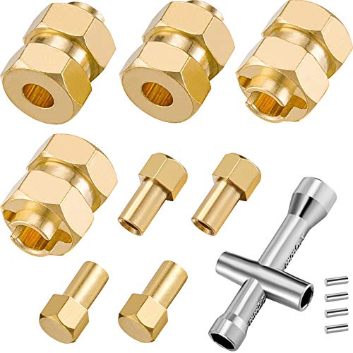 4 Pieces 7mm Brass Extended Hex Wheel Hubs RC Wheel Spacers Brass Weight Hex Hub Extended Combiner with a Cross Wrench Compatible with SCX 24 1/ 24 RC Crawler Car, 4 mm/ 0.16 Inch, 0.37 Inch Long