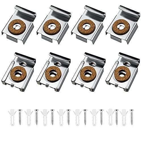 PEAK-EU 8 Pcs Colgador de Espejo Cargado de Resorte Set de Clips para Espejo de Baño,Montaje de Espejo sin Marco,con Tacos y Tornillos