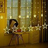 Luces Cuerda de Hadas funciona con Pilas, LED Luz Decorativa con Bombillas Iluminacion para Uso Interiores Exteriores en Casa Jardín Patio Cálida Blanca (Estrella)