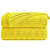 Shaddock Couverture Tricot Plaid de 100% Coton Couverture Chauffante Jeté de Canapé...